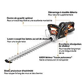 TACKLIFE Taille Haie Électrique, 600W Taille-Haies, Longueur de Lame 550 mm, Ouverture des Dents 20 mm, Fonctionnement de 3 Angles, Tête de Coupe Anti-Collision, Tête Rotative, Faible Bruit- GHT1A