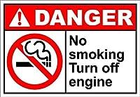 レトロなヴィンテージの装飾金属錫サインイン、禁煙エンジンの危険性をオフにする、警告サイン私有財産のための金属屋外の危険サイン錫肉サインアートヴィンテージプラークキッチンホームバー壁の装飾
