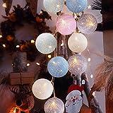 Cotton Ball Lichterkette, TENSUN 3m 20 LED Kugel Lichterketten mit USB, Baumwollkugeln Lichterkette...