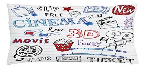 ABAKUHAUS Movie Theater Throw Pillow Cushion Cover, Various Hand Drawn on a Notebook Page Style Backdrop Hollywood Fun, Decorative Square Accent Pillow Case, 36 X 16 Inches, Multicolor