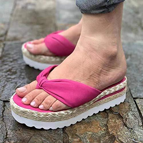 Zapatillas de Cuña con Plataforma Sandalias para Mujer Zapatos,Rojo,37