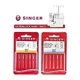 Pack de 10 Agujas Singer 2022 (501R - 502R) para Overlock Singer 14SH, 14CG y otras Grosor...