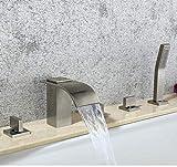 Cubierta grifo moderno 5 x níquel cepillado Montado Plaza Cascada grifo de la tina de mano Conjunto de latón Zixin