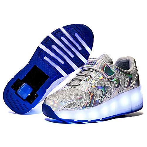 Niña Niño Luces LED Zapatos de Skate con Ruedas, Ajustable Rueda Roller Unisex LED Luz Flash Zapatos De Roller Patines, Automáticamente Retráctiles Zapatos de Roller Patines Deportes Parpadeantes A