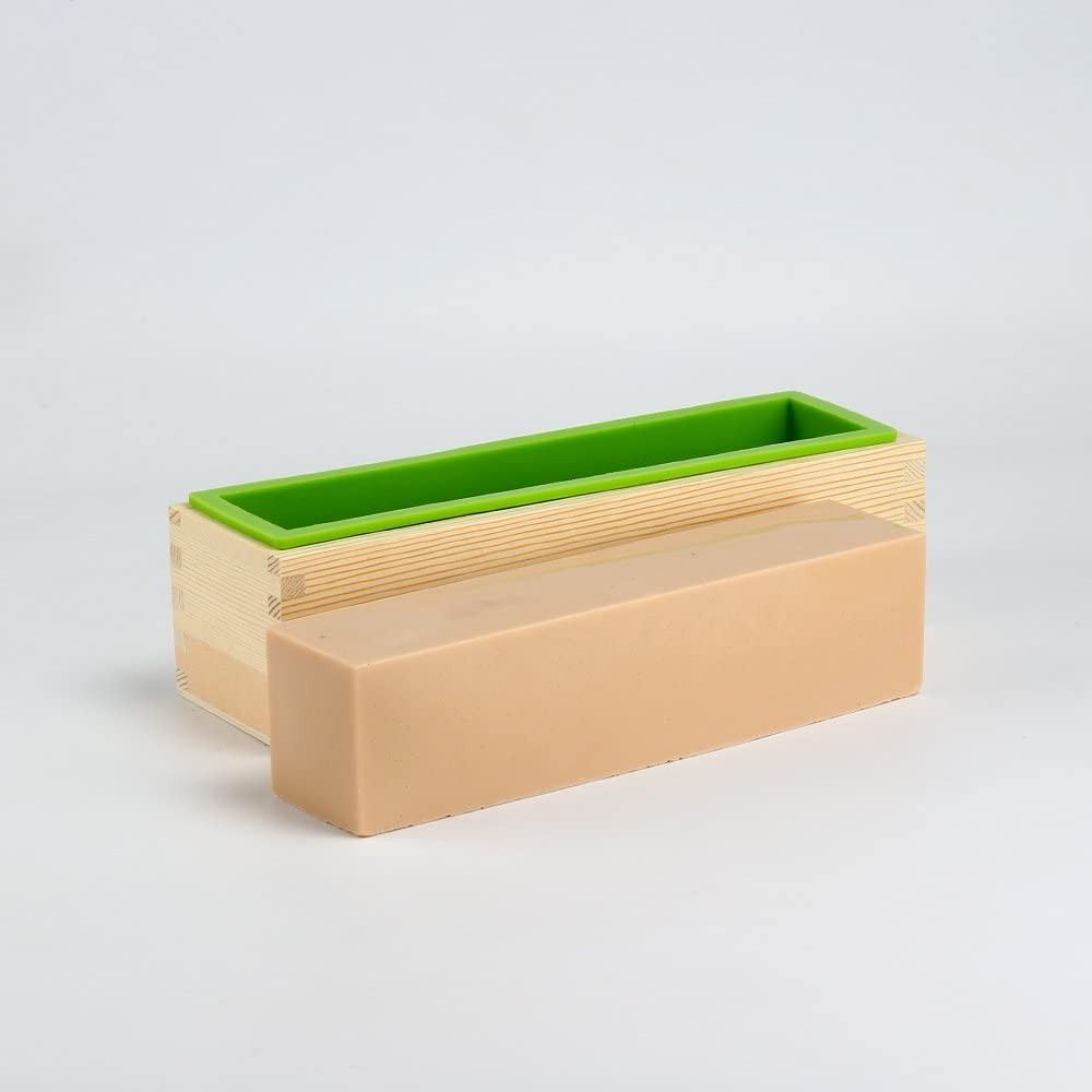 Nicole 42oz Flexible Rectangular Silicone Loaf Soap Mold with Wooden Box DIY Handmade Tools /…