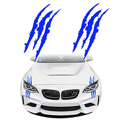 KE-KE Claw Marks Decal Reflective Sticker Waterproof Headlight Decal Vinyl Sticker Decal for Sports Cars 2PCS (Black)
