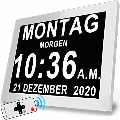 8 Zoll Digitaler Wecker Wanduhr mit 19 Alarme & Fernbedienung , Seniorenuhr Kalender und Foto-Funktion - für Senioren & Demenzkranke (z.B. Alzheimer)
