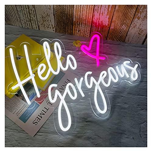 Gn shop Hola magnífico Letrero de neón luz LED, acrílico Transparente Personalizado Personalizado de neón decoración de la decoración de la casa Regalo de cumpleaños (Color : White, Size : 60X43CM)