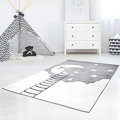 Kinderteppich Bueno Konturenschnitt mit Mond, Wolken, Sterne, in Grau Creme für Kinderzimmer; Größe: 80x150 cm