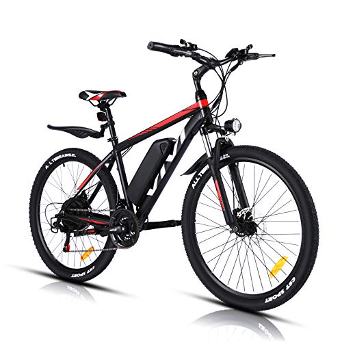 VIVI Electric Bike Electric Mountain Bike 26 Inch Ebikes for Adults, 350W Motor, 36V/10.4Ah Battery, 3 Electric Modes and 21 Speed Gears, Unlimited Speed Up to 20MPH, Pedal Assist Mode
