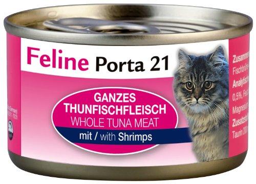 Feline Porta Katzenfutter Feline Porta 21 Thunfisch plus Shrimps 90 g, 12er Pack (12 x 90 g)