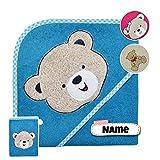 Baby Kapuzenhandtuch Set mit Waschlappen   Baby Handtuch 80 x 80 cm Kapuzenbadetuch   personalisiert...
