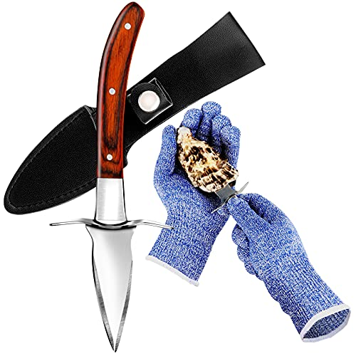 Oyster Knife and Gloves Set, Oyster Opener Tool Kit with Oyster Shucking Knife and Cut Resistant Level 5 Protection Gloves, Clam Oyster Shucker Knives with Hand Guard, Seafood Tools Gift Set of 2