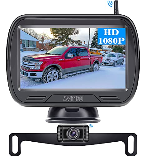 Wireless Backup Camera for Truck AMTIFO HD 1080P Licence Plate Hitch Camera Digital Signal,Support Add 2nd Wireless Rear View Cameras for RVs,Trucks,Cars,SUVs,DIY Guide Lines - W3