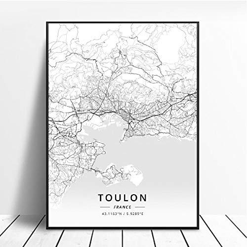 NOVELOVE Toulon Ville France Carte Affiche HD Impressions Mur Art Photos Toile Peinture Bureau Mural Décor À La Maison sans Cadre 50 * 70 cm