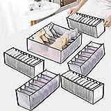 Xnuoyo 6 Pcs Organizador Ropa Interior Caja De Almacenamiento De Ropa Interior Plegable Con Compartimento Se Utiliza para Guardar Ropa Interior, Calcetines, Sujetadores, Corbatas.