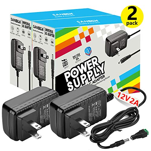 12V DC Power Supply, SANSUN 12 Volt Power Supply for LED Strip Lights, AC120V to DC12V Transformers, 2A 24W Adaptor (Pack of 2)