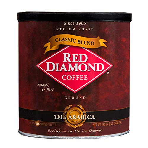 Red Diamond Coffee Classic Blend Ground Coffee Medium Roast Smooth & Rich Flavor 34.5 Ounce Can