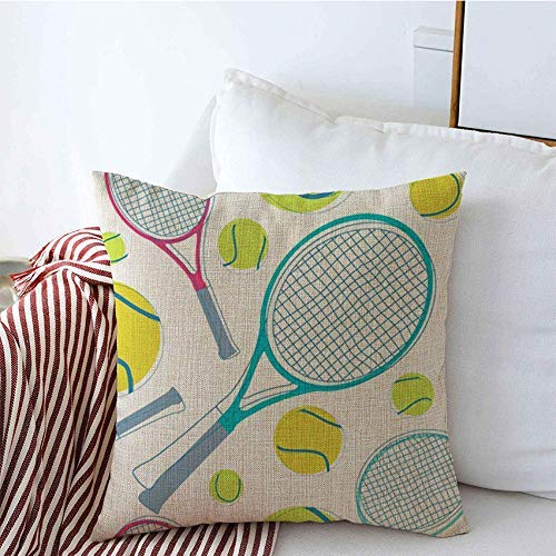 Taie d'oreiller Play Detail Sport Tennis Fun Color Textile Pattern Shot Smash Set Single Sports Recreation Cushion Pillow Case