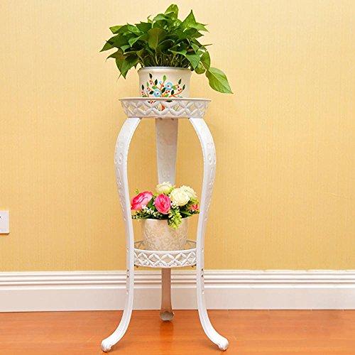 LLLXUHA Art de fer Multi-couche Support de fleurs, européen Type de plancher Plantes charnues Pot à fleurs balcon Étagère de rangement, salon sol Présentoir,31*42*80cm , Blanc