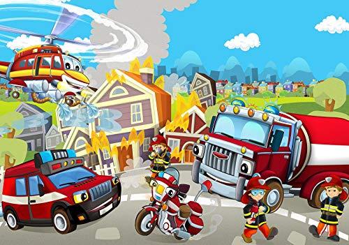 DekoShop Fototapete Vlies Tapete - Wanddeko Wandtapete Feuerwehr Kinderzimmen Junge AMD12548V8 V8 (368cm. x 254cm.) Für Kinder