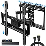 JUSTSTONE TV Wall Mount Full Motion for 32-65 Inch Flat Screen Curved TVs 100 Lbs, Articulating TV Bracket with Sliding Design and Height Adjust for TV Centering,Tilt Swivel,16' Studs- 16.9' Extension