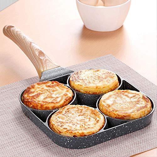 Koekenpan 4-Hole Omelet Pan voor Burger Eieren Ham Pannenkoek Maker Frying Pans Creatieve Anti-aanbaklaag Geen Olie-Smoke Ontbijt Grill Wok Koken Pot