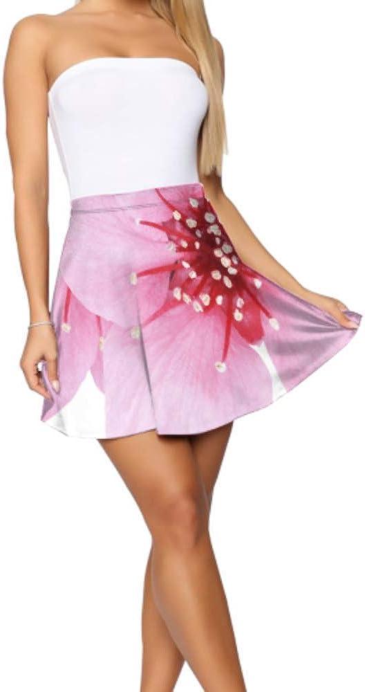 Womens Skater Skirt Beautiful Pink Cherry Cherry Blossom Isolated Girl Mini Skirt Women's Basic Casual High Waist Flared Skirt S-XL