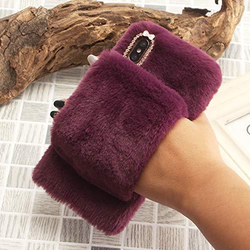 SevenPanda für Samsung S7 Bling Hülle, für S7 Warm Schutzhülle, Plüsch Kaninchen Handschuh Armband Griffhalter Handheld Case Handgefertigt Schutzhülle Stilvolle Niedlichen Hülle - Lila