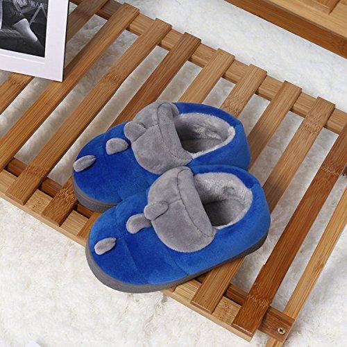 XING GUANG Outlets De Fábrica De Algodón para Niños Zapatillas De Algodón Inicio Zapatos Antideslizantes De Algodón Cálidos Algodón Dinosaurios De Arrastre,Blue