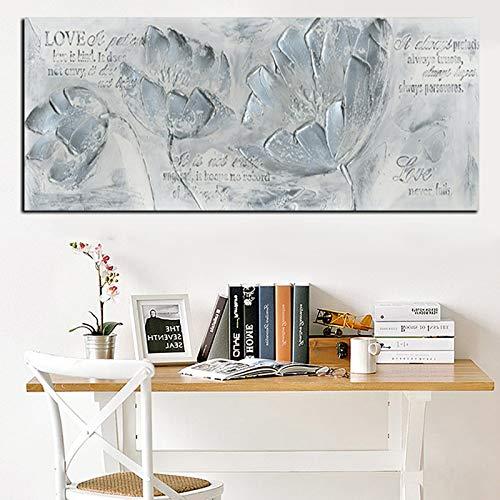 Imprimir cuchillo abstracto flor de amapola citas paisaje pintura al óleo sobre lienzo arte cartel moderno cuadro de pared para decoración de sala de estar 50x100 CM (sin marco)