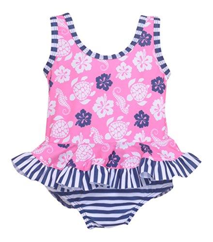 Flap Happy Baby Girl UPF 50+ Stella Infant Ruffle Suit with Swim Diaper, Beach Bliss, 24m