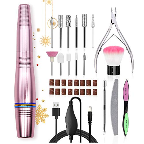 Skymore Professional Electric Nail Drill for Acrylic Nails, Portable USB Nail File Manicure & Pedicure Tools Set, 11 in 1 Acrylic Finger Toe Nail Care Kit, 16 Sanding Bands and 1 Nail Clipper (Pink)
