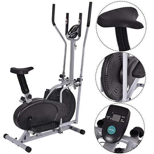 Gymax 2 IN 1 Elliptical Fan Trainer Exercise Bike Indoor Home Cycling Fan Bike Exercise Machine (With Central Handlebar)