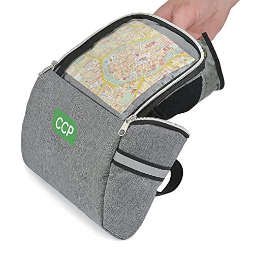 CCP Project Borsa Bici Manubrio con Custodia Impermeabile Smartphone Trasparente e Touch, borsello Porta Oggetti MTB Universale, con Elementi Riflettenti Made in UE, 20x15x10 cm