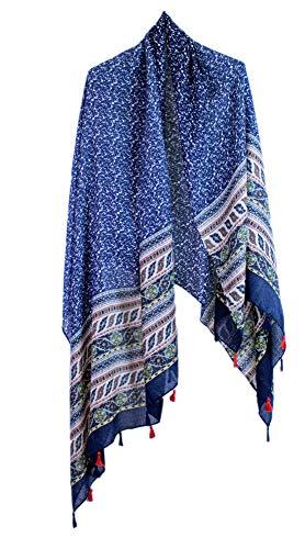 si moda dames sjaal ronde sjaal halsdoek bloemen bedrukt kwast XXL poncho pareo lang