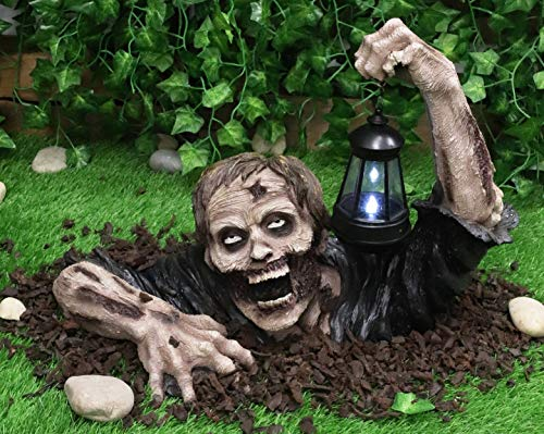 """Ebros Large Dramatic Head Shot Impaled Zombie Crawling Out of Grave Statue with Hanging Solar LED Lantern Light in Hand Dead Rising 18""""L Decaying Flesh Walker Zombies Ossuary Macabre Decor Figurine"""