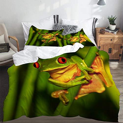 LASINSU Bedding Bettwäsche,Kleiner grüner Frosch mit den roten Augen, die auf exotischer Betriebswilder Natur von Costa sitzen,Bettwäsche 240x260cm mit Kopfkissenbezug 2(50x80cm)