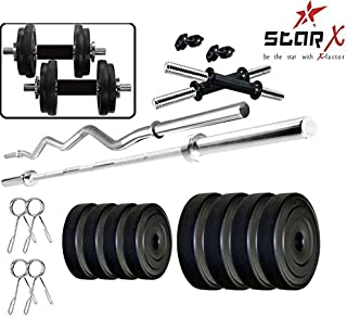StarX Men's Home Gym Exercise Set of 20KG PVC with 2 Dumbbell, 3Ft Curl and 4Ft Straight Rod (Black)