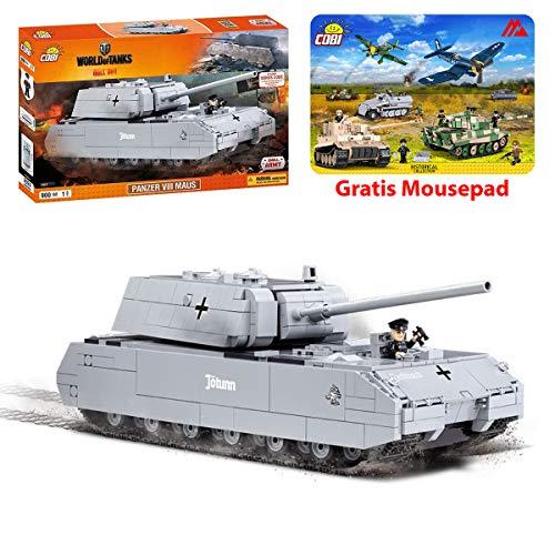 COBI Kleine Armee Panzer VIII Maus World of Tanks Konstruktion Spielzeug Bausteine + Mauspad von Juminox Gratis