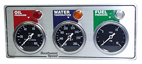 NEW SOUTHWEST SPEED RACING 3 GAUGE PANEL WITH OIL PRESSURE, WATER TEMPERATURE, FUEL PRESSURE GAUGES, WARNING LIGHTS & SENDING UNITS