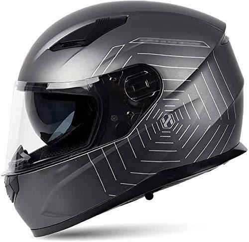 VERDELZ Casco de motocicleta de cara completa aprobado por ECE/DOT con doble visera para motocicleta ciclomotor moto de calle de motocross scooter de carreras para adultos y mujeres - 2_grande