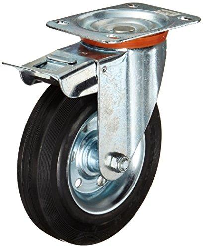 Dörner + Helmer 712222 Rueda de bloqueo de goma con rodamiento de rodillos, 200 x 50 mm, placa de 140 x 110 mm
