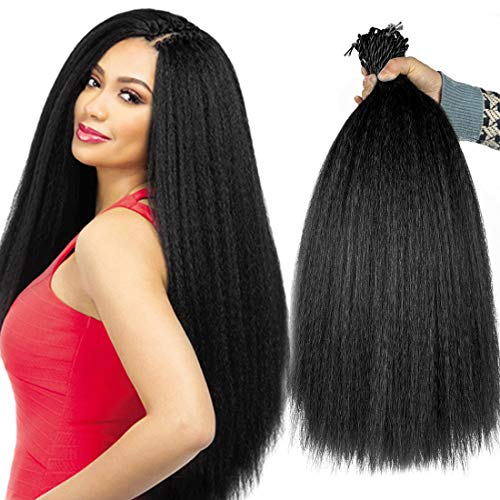 8 Packs Kinky Straight Crochet Hair with Adjustable Loop Synthetic Pre-looped Yaki straight Crochet Braiding Hair Extensions for Black Women 1B Black