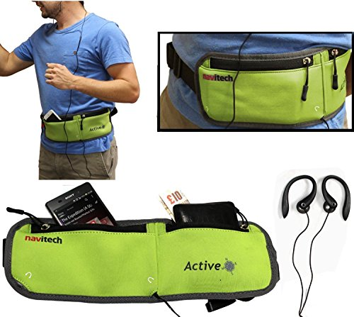Navitech Smartphone Wasser Widerständiges Neoprene Sport/Jogging/Lauf Fitness gürtel/Bauchtasche in Grün für dasHTC Desire 10 Pro
