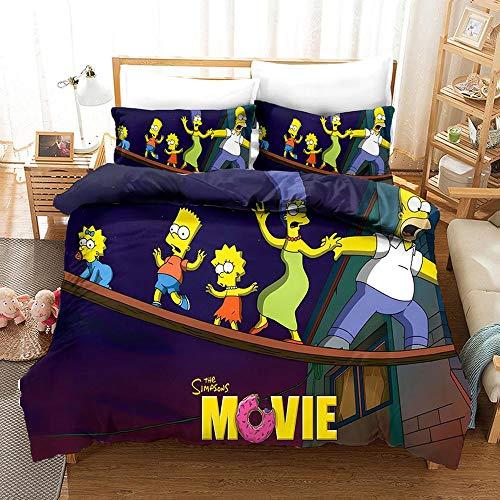 bed linings Bettwäsche-Set 3D Die Simpsons Druck Weihnachten Kind Erwachsene Bettwäsche Aus 100% Polyester Bettbezug 3 Stück Mit 2 Kissen- H-US Twin172x218cm