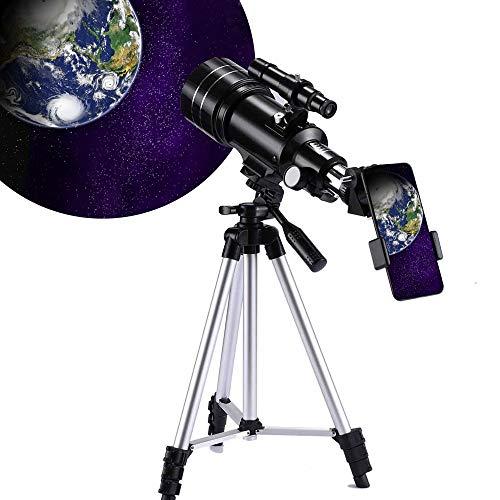 天体望遠鏡 初心者 屈折式 望遠鏡 セット 子供用 スマホ撮影 70mm大口径 150倍 焦点距離300mm 日本語説明書付き