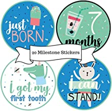 Baby Monthly Stickers – (Set of 20) Baby Milestone Stickers for Boys, Baby Boy or Girl Gifts on Every Baby Registry with All 12 Month Stickers, Perfect Baby Shower Gift by BebeTales