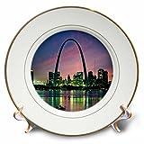 3dRose St Louis Missouri Arch at Nite-Porcelain Plate, 8-inch (cp_56145_1)