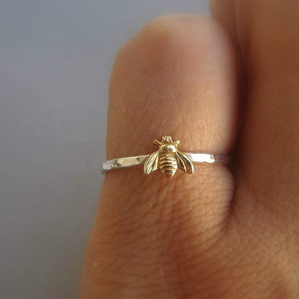 LZIYAN Tiny Honey Bees Ring,Simple Cute Bee Rings,Insect Animal Finger Wrap,Knuckle Ring Personality Jewelry Accessories